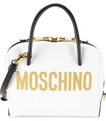 moschino women's logo leather dome satchel - white