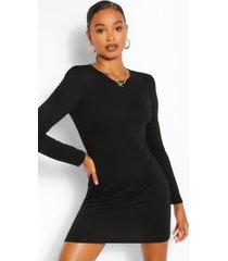 padded shoulder long sleeve t-shirt dress, black