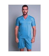 pijama mvb modas adulto curto verão azul claro