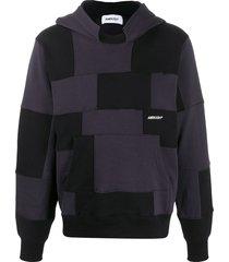 ambush patchwork-effect hoodie - black