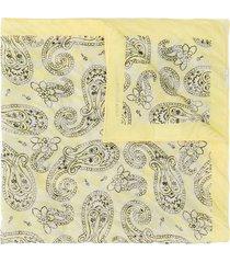 acne studios paisley-print square bandana - yellow