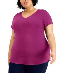 jm collection plus size layered-hem top, created for macy's