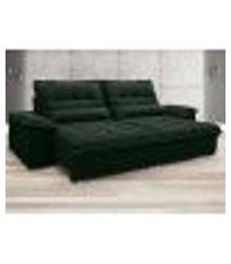 sofá bergamo 2,70m assento retrátil e reclinável velosuede verde - netsofas
