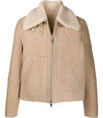 ami paris shearling-collar zip-up jacket - neutrals
