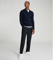 reiss trafford - merino wool polo shirt in navy, mens, size xxl