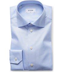 eton slim fit twill dress shirt, size 17.5 in light blue at nordstrom