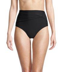 dkny women's draped high-rise bikini bottom - black - size xs