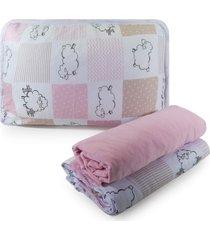jogo de cama appel berã§o em malha 3 peã§as - ovelhinha rosa, - rosa - menina - dafiti