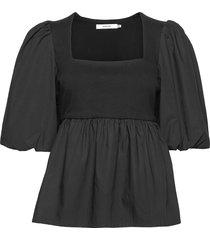 cristingz blouse blouses short-sleeved zwart gestuz