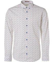 no excess shirt, l/sl, allover printed, stret indigo blue