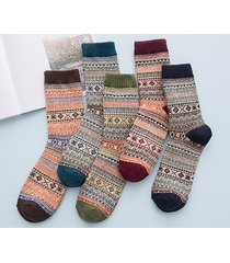retro modello etnico retrò calze calde calde di lana calde per uomini