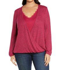 plus size women's bobeau surplice top, size 3x - red