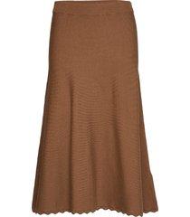 u8822, knitted skirt calf length knälång kjol brun saint tropez