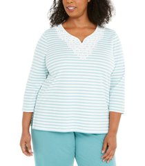 alfred dunner plus size cottage charm monotone stripe top
