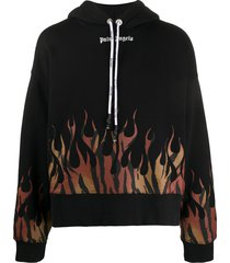 palm angels tiger flames hoodie - black