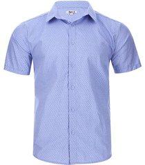 camisa textura puntos color azul, talla l