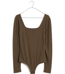 women's madewell square neck thong bodysuit, size xx-small - green