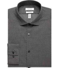 calvin klein infinite non-iron charcoal geometric slim fit dress shirt