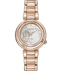 citizen eco-drive women's belle diamond-accent rose gold-tone stainless steel bracelet watch 30mm