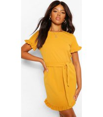 crepe ruffle sleeve belted shift dress, mustard
