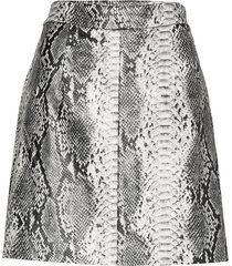 pf elias pleather reptile mini kort kjol grå french connection