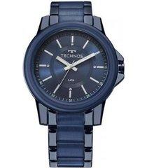 relógio feminino technos trend 2035mkj/4a 42mm pulseira aço azul