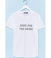 womens here for the bride graphic tee - white