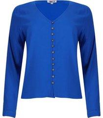 blusa con botones color azul, talla 10