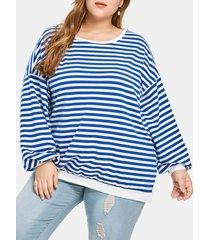 plus size striped drop shoulder t-shirt