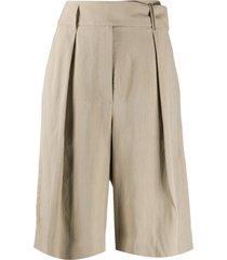 brunello cucinelli high-rise wide leg bermuda shorts - neutrals