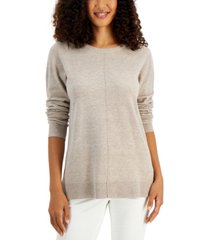 karen scott plush seamed sweater, created for macy's
