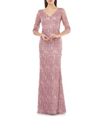 women's carmen marc valvo infusion 3d petal evening gown