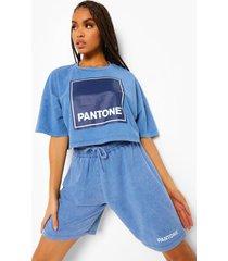 kort acid wash gebleekt pantone t-shirt, gewassen blauw