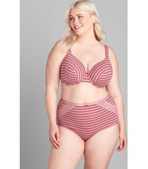 lane bryant women's cotton high-waist brief panty with lace trim 34/36 rose stripes