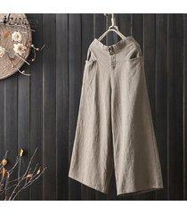 zanzea mujeres más tamaño pantalones de cintura alta culottes sólidos pantalones de pierna ancha básico de la llamarada -beige