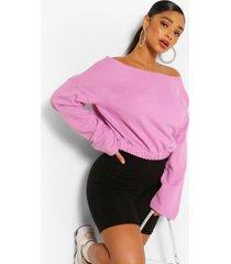 plus basic drop shoulder sweater met boothals, lila