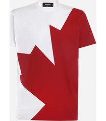 dsquared2 cotton t-shirt with canadian leaf print