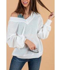 yoins blanco liso one hombro suéter de manga larga