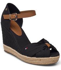 basic open toe high wedge sandalette med klack espadrilles svart tommy hilfiger