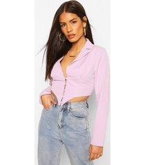 button front plunge blazer top, lilac