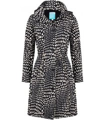 happyrainydays regenjas coat belene graphic black beige-l