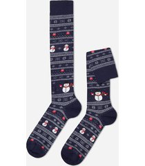 calzedonia christmas pattern cotton long socks man blue size tu