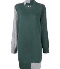 mm6 maison margiela intarsia-knit elbow patch dress - green