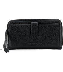 emporio armani textured leather wallet - black
