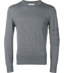 thom browne 4-bar jersey stitch merino pullover - grey