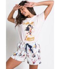 pijama manga curta acuo pijama manga curta bege - bege - feminino - dafiti