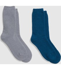 lane bryant women's 2-pack cozy socks - grey & blue onesz legion blue