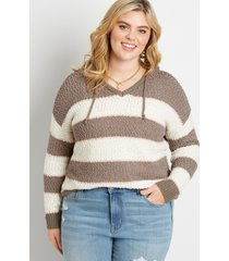 maurices plus size womens brown stripe hooded pullover sweater
