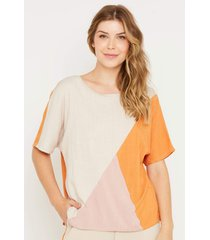 blusa de viscose com recortes tricolor multicolorido