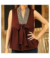 cotton blouse, 'relax in brown' (thailand)